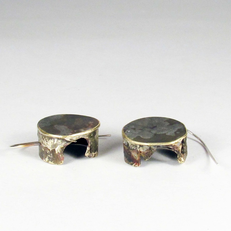 Roxy Lentz earrings of re purposed silver plate tray, fire patina.